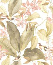 Casadeco Delicacy 85387103 BIRDSONG Natur Énekesmadarak egzotikus leveleken fehér rózsaszín zöldes sárga tapéta