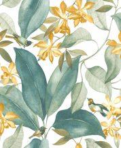 Casadeco Delicacy 85387171 BIRDSONG Natur Énekesmadarak egzotikus leveleken fehér zöld sárga tapéta