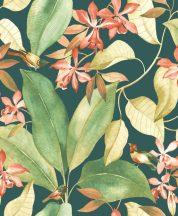 Casadeco Delicacy 85387289 BIRDSONG Natur Énekesmadarak egzotikus leveleken sötét zöldeskék rózsaszín korallpiros zöld sárga tapéta
