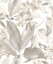 Casadeco Delicacy 85389242 BIRDSONG Natur Énekesmadarak egzotikus leveleken fehér szürke szürkésbézs barna tapéta