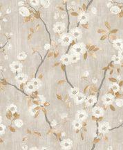 Casadeco Delicacy 85392327 SPRING FLOWER Natur almavirág karcsú leveles ágakon szürkésbézs fehér aranybarna sötétszürke tapéta
