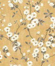 Casadeco Delicacy 85392403 SPRING FLOWER Natur almavirág karcsú leveles ágakon sárga krémfehér barna sötétszürke tapéta