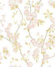 Casadeco Delicacy 85394346 SPRING FLOWER Natur almavirág karcsú leveles ágakon fehér rózsaszín bézs szürkésbézs tapéta