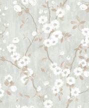 Casadeco Delicacy 85396208 SPRING FLOWER Natur almavirág karcsú leveles ágakon világoskék fehér barna szürkésbarna tapéta