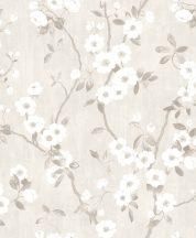 Casadeco Delicacy 85399171 SPRING FLOWER Natur almavirág karcsú leveles ágakon halvány szürke fehér szürke szürkésbarna tapéta