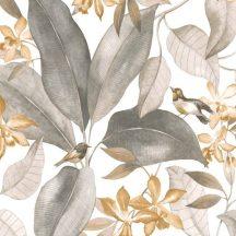 Casadeco Delicacy 85441454 TISSU BIRDSONG Natur Énekesmadarak egzotikus leveleken fehér szürke szürkésbézs textil/dekoranyag