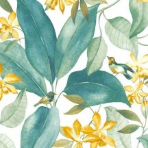 Casadeco Delicacy 85442252 TISSU BIRDSONG Natur Énekesmadarak egzotikus leveleken fehér zöld sárga textil/dekoranyag