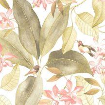 Casadeco Delicacy 85447353 TISSU BIRDSONG Natur Énekesmadarak egzotikus leveleken fehér rózsaszín sárgászöld textil/dekoranyag