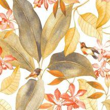 Casadeco Delicacy 85449555 TISSU BIRDSONG Natur Énekesmadarak egzotikus leveleken fehér sárga korall/narancs sötétszürke textil/dekoranyag