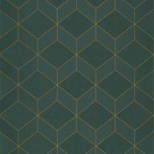 Casadeco 1930, 85687517  METRO Geometrikus 3D hatású síkidomok sötétzöld zöld arany fénylő mintarajzolat tapéta