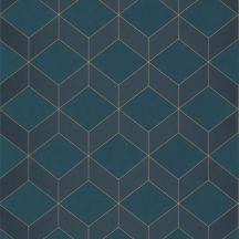 Casadeco 1930, 85686337  METRO Geometrikus 3D hatású síkidomok sötétkék szürkéskék arany fénylő mintarajzolat tapéta