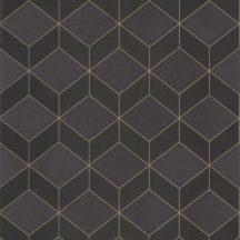 Casadeco 1930, 85689533  METRO Geometrikus 3D hatású síkidomok sötétbarna antracit arany fénylő mintarajzolat tapéta