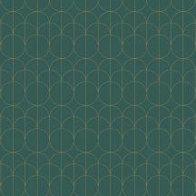 Casadeco 1930, 85697505  REFLET Geometrikus finom rajzolatú díszítőminta zöld arany fényló mintarajzolat tapéta