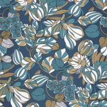 Casadeco 1930, 85716306 TULIPE Natur csodás pazar buja virágkompozíció kék krémfehér arany irizáló festés tapéta