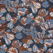 Casadeco 1930, 85716414 TULIPE Natur csodás pazar buja virágkompozíció sötétkék bézs kék bronz irizáló festés tapéta