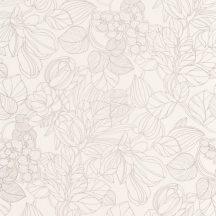 Casadeco 1930, 85720010 GRAVURE Natur Grafikus kontúr rajzolatú mesés virágminta krémfehér bézs irizáló festés tapéta