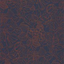 Casadeco 1930, 85726526  GRAVURE Natur Grafikus kontúr rajzolatú mesés virágminta sötétkék bronz irizáló festés tapéta