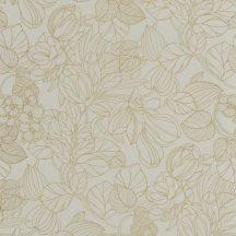Casadeco 1930, 85727131  GRAVURE Natur Grafikus kontúr rajzolatú mesés virágminta mandulazöld arany irizáló festés tapéta
