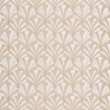 Casadeco 1930, 85731202 PALMETTE Art Deco design kis pálmákból ofszet hatás krémfehér szürkésbézs bézsarany fénylő mintarajzolat tapéta