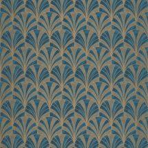 Casadeco 1930, 85736313 PALMETTE Art Deco design kis pálmákból ofszet hatás kék sötétkék arany fénylő mintarajzolat tapéta
