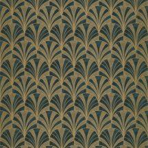 Casadeco 1930, 85737528 PALMETTE Art Deco design kis pálmákból ofszet hatás zöld sötétzöld arany fénylő mintarajzolat tapéta