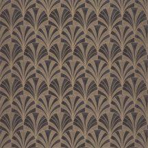 Casadeco 1930, 85739525  PALMETTE Art Deco design kis pálmákból ofszet hatás sötétbarna antracit arany fénylő mintarajzolat tapéta