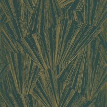 Casadeco 1930, 85747507 ECLAT FOIL Asszimetrikus geometriai ábra fénysugarak irizáló és fémes festéssel sötétzöld arany tapéta
