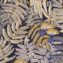 Casadeco Botanica 85892175 ALBIZIA Botanikus finom trópusi nönénymnta selyemakác antracit ibolyakék bézs currysárga fémes kiemelések tapéta