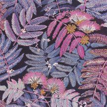 Casadeco Botanica 85895328 ALBIZIA Botanikus finom trópusi nönénymnta selyemakác antracit kék lila currysárga fémes kiemelések tapéta