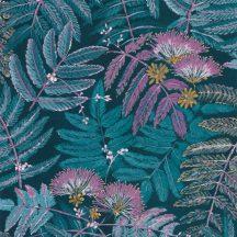 Casadeco Botanica 85896164 ALBIZIA Botanikus finom trópusi nönénymnta selyemakác antracit kék türkiz lila currysárga fémes kiemelések tapéta