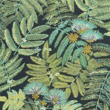 Casadeco Botanica 85897247 ALBIZIA Botanikus finom trópusi nönénymnta selyemakác antracit zöld mentazöld kék sárga fémes kiemelések tapéta