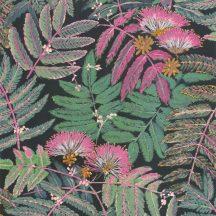 Casadeco Botanica 85897490 ALBIZIA Botanikus finom trópusi nönénymnta selyemakác antracit pink zöld currysárga fémes kiemelések tapéta