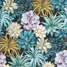 Casadeco Botanica 85916585 ECHEVERIA Botanikus pozsgás növények aloe vera és crassula antracit kék türkiz lila sárga zöld tapéta