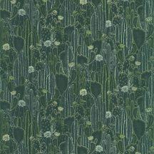 Casadeco Botanica 85927429 CACTACEAE Botanikus kaktuszültetvény zöld árnyalatok kékeszöld ezüstfehér fémes kiemelések tapéta