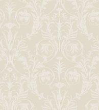 Casadeco Montsegur 86021218 TRIANON Klasszikus botanikai díszítőminta bézs krémes ezüstfehér fémes hatás tapéta
