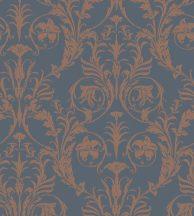 Casadeco Montsegur 86026564 TRIANON Klasszikus botanikai díszítőminta kék rézszín fémes hatás tapéta