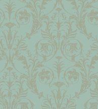 Casadeco Montsegur 86027127 TRIANON Klasszikus botanikai díszítőminta mandulazöld arany fémes hatás tapéta