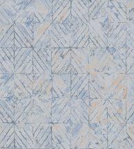 Casadeco Montsegur 86036149 REFLET káprázatos geometriai dekorminta kék szürke ezüst arany tükörfényes felület tapéta