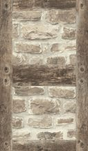 Rasch b.b home passion 860511  téglafal fagerendák keretében fehér bézs barna tapéta