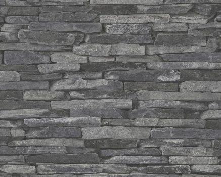 As-Creation Wood'n Stone 9142-24 kőmintás szürke fekete tapéta