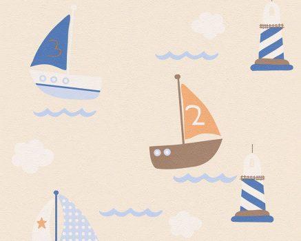 Boys & Girls 6, 93554-8 Gyerekszobai tengeri vitorlások bézs kék barna fehér tapéta