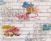 As-Creation Boys & Girls 6, 93561-1 Téglafal graffiti fehér szürke szines tapéta