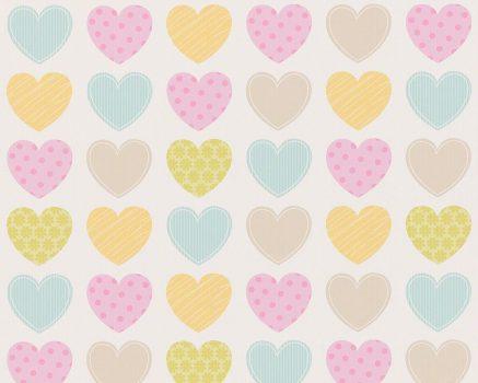 As-Creation Boys & Girls 6, 93566-2 Gyerekszobai színes szívek fehér szines tapéta