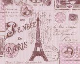 Gyerekszobai bélyegek postai bélyegzők Párizs-London rózsaszín árnyalatok tapéta