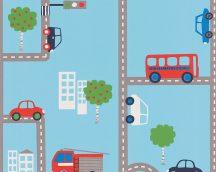 Boys & Girls 6, 93632-1 Gyerekszobai játékos városi közlekedés kék szines tapéta