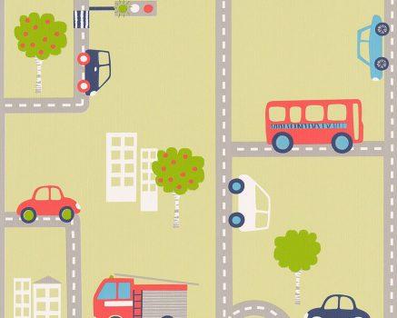 Boys & Girls 6, 93632-2 Gyerekszobai játékos városi közlekedés zöld sárgászöld szines tapéta