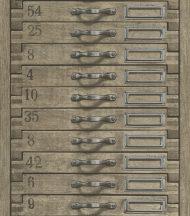 Rasch Factory III, 938104 fotorealisztikus fa fiókok szürkésbarna tapéta