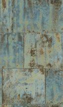 Rasch Factory III, 939712  Vintage patinás acéllemez kék türkiz bézs barna tapéta