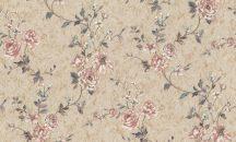 Rasch Factory Style 947519 Virágos/Romantikus/Ipari design beton háttéren indák levelek rózsák bézs arany rózsaszín kék zöld fehér tapéta