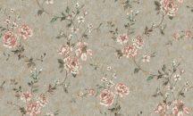 Rasch Factory Style 947526 Virágos/Romantikus/Ipari design beton háttéren indák levelek rózsák szürke arany mentazöld kékeszöld rózsaszín rózsavörös fehér tapéta